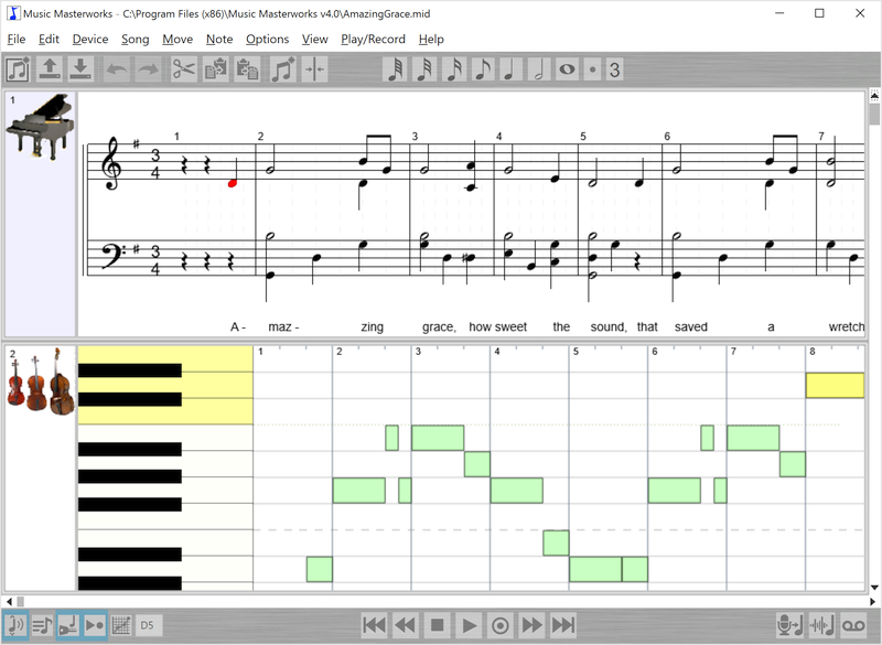 Make your own music with our award-winning voice-to-note music composition software. With Music Masterworks you can compose by just singing into your microphone. Edit the song using piano roll or staff notation with a simple mouse/touch interface.